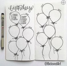 Bullet Journal Collection Ideas - The Best Ones! - Slightly Sorted Bullet journal collection ideas birthday balloons Bullet Journal Collection Ideas - The Best Ones! - Slightly Sorted Bullet journal collection ideas birthday balloons Bullet Journal Writing, Bullet Journal 2020, Bullet Journal Aesthetic, Bullet Journal Spread, Bullet Journal Inspo, My Journal, Journal Pages, Bullet Journal Birthday Page, Bullet Journal Events