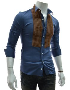 """Men's """"Marx"""" Collar Patched Stretchy Dress Shirt"""