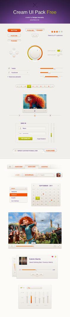 Cream UI Pack Free, elementos de interfaz de usuarios para sitos web #resources #UI