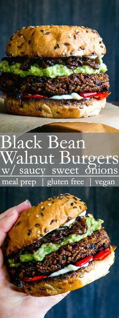 Nourishing, and delicious with a bit of a kick, Black Bean Walnut Burgers with Saucy Sweet Onions are freezer friendly and easy to pull together. burger recipe Black Bean Walnut Burgers with Saucy Sweet Onions Grilled Burger Recipes, Healthy Burger Recipes, Clean Eating Recipes, Whole Food Recipes, Vegetarian Recipes, Best Vegan Burger Recipe, Vegetarian Burgers, Keto Burger, Gastronomia