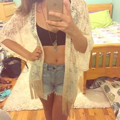 Trendy Lace Kimono! This kimono flows beautiful with many outfits, was only worn once - in brand new condition. Charlotte Russe Tops