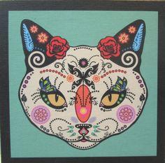 Sugar Skull Cat Dia De Los Meurtos Day of the by LadybugDelightz