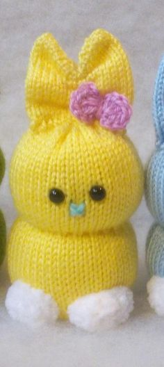 Ready made soft toy - Loom Knitting Projects, Knitting Stitches, Crochet Projects, Knitting For Charity, Knitting Help, Knitted Bunnies, Knitted Dolls, Animal Knitting Patterns, Worry Dolls