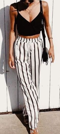 #Summer #Outfits / black top + striped palazzo pants