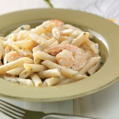 Shrimp Penne with creamy garlic sauce- I made this for dinner using Gorton's pre-grilled shrimp, and it was delicious.