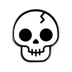 Skull Pin A real headcase - Black nickel pin with white enamel - Rubber backing - Measures 1 Simple Skull Drawing, Easy Skull Drawings, Halloween Drawings, Tattoo Drawings, Cute Drawings, Drawing Sketches, Art Tattoos, Tattoo Sketches, Desenhos Halloween