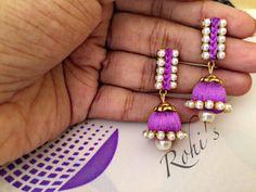 Stud + Jumkha ? Maybe. Silk Thread Jhumkas, Silk Thread Bangles Design, Silk Thread Necklace, Silk Bangles, Thread Jewellery, Fabric Jewelry, Beaded Jewelry, Handmade Necklaces, Handmade Jewelry