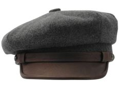 wool & leather motorcycle cap
