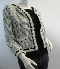 05P CHANEL Black & White Tweed Cropped Jacket w/ Black Chiffon Trim, FR 34 US 2