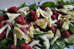 Spinatsalat med fennikel og hindbær