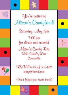 Candyland Invitation / Bring your sweet tooth to this party.
