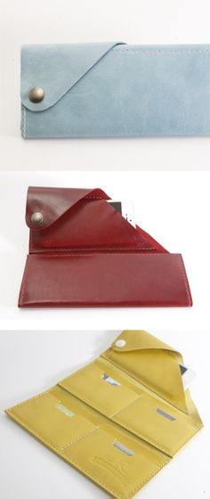 The Wrap Wallet // keeps all your cards + phone in one neat leather design #blue #red #yellow