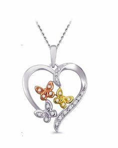 "Sterling Silver with Pink and Yellow Gold Plated Diamond Heart and Butterfly Pendant Necklace, 18"" Amazon Curated Collection. $88.00. All our diamond suppliers certify that to their best knowledge their diamonds are not conflict diamonds.. Made in India. Save 60%!"