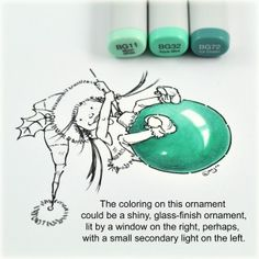Tutorial by Debbie on how to create a shiny ornament with Copics