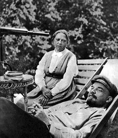Lenin and Krupskaya by a Telescope by  Unknown Artist