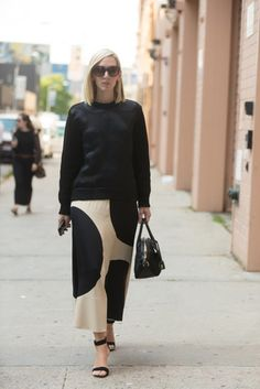 NYFW Street Style Day 1: Jane Keltner de Valle made black a lot more fun with oversize polka dots.