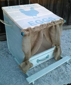 Chicken Nest Box, Hen Nesting Box, Chicken Coop Decor, Reclaimed Antiqued Wood Hand Painted, Chicken Coop, Chicken Art, Sign, Eggs