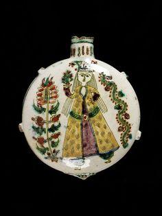 Pilgrim flask, fritware, polychrome painted with a female figure, Turkey (Kütahya), 1750-1800