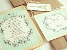 mint vintage wedding invitation