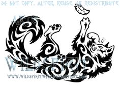 Playful Cat And Feather Tattoo by *WildSpiritWolf on deviantART