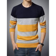 Round Neck Long Sleeve Color Block Stripe Print Sweater