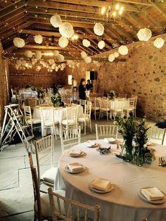 Barn wedding table setting - Wedderburn Barns, Scotland