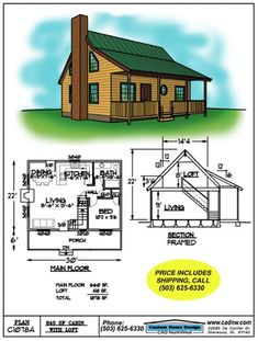 "smaller version of the ""big cabin"". Cabin House Plans, Log Cabin Homes, Small House Plans, Building A Shed, Building Plans, Types Of Planning, Cabin Loft, Nail Polish, Cabin Design"