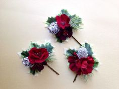 christmas wedding hair accessory,  Christmas wedding, winter wedding, bride, updo, bridal hair accessory by HollyHoopsArt