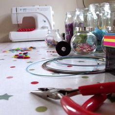 The ever so tidy desk of Claire-Louise Barlow of Folksy shop Realicoul and SewRealicoul