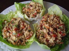 Copas vegetarianas de lechuga y tofu Hoisin. Lettuce cups with Hoisin tofu