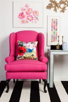 This cushion print is brilliant with the hot pink chair - modern twist on traditional furniture