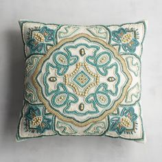 Turquoise Tile Beaded Pillow with a Quatrefoil-inspired Pattern from Pier Cushion Embroidery, Beaded Embroidery, Embroidery Patterns, Turquoise Tile, Turquoise Pillows, Diy Pillows, Decorative Pillows, Throw Pillows, Cushion Cover Designs