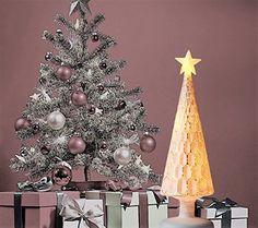 White Mercury Mini Glass Christmas Tree Metallic Honey Comb Xmas Decoration New