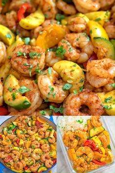 This Easy Shrimp Skillet makes a healthy quick and delicious dinner Packed with shrimp zucchini and sweet bell peppers it is going to become your favorite seafood dish Fish Recipes, Seafood Recipes, Gourmet Recipes, Chicken Recipes, Cooking Recipes, Health Shrimp Recipes, Quick Shrimp Recipes, Seafood Appetizers, Curry Recipes