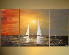 Voile bateau Art contemporain Original moderne par OsnatFineArt
