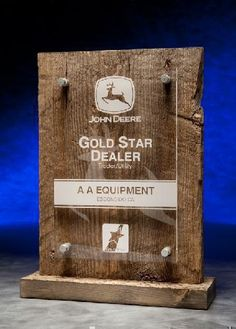This Acrylic Award boasts as an elegant free standing barn wood back& acrylic front. Customize it with color fill and your company logo an an award presentation that will be remembered.