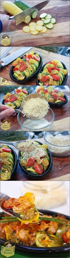 Parmesan Zucchini Gratin - A step-by-step guide to making this amazing and super easy recipe... golden brown topping, soft and delicate vegetables, a little sweetness from the tomatoes. YUM!!! Perfect for the summer harvest.