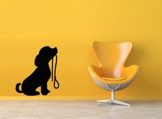 Wall Decor Vinyl Sticker Room Decal Art Cute Family Animal Dog Pet With Leash 661