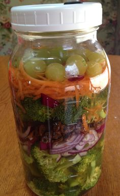 Cultured Broccoli Salad in a Jar  Ingredients 1 package Caldwell's Starter Culture for Fresh Vegetables or ¼ cup kefir whey 1 head broccoli, chopped (florets only) 2 medium carrots, shredded 1 small red onion, thinly sliced ½ cup raisins ½ cup grapes 2 teaspoons lemon juice, freshly squeezed 1-1/2 teaspoons Celtic Sea Salt