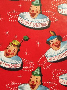 Vintage Christmas Wrapping Paper - Juvenile Christmas - Jolly Christmas Carnival Clowns - 1 Unused Full Sheet Christmas Gift Wrap
