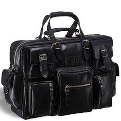 """Деловая сумка для командировок BRIALDI Norfolk (Норфолк) black  Солидная, внушительная модель со множеством наружных карманов. Основное отделение просто огромное, на стенках его, напротив друг друга, расположены: большой карман на молнии, карманы для ноутбука 15,6"""" и для планшета iPad; съемная основная перегородка (на липучке Velcro), которая дополнительно делит внутреннее пространства на две части: командировка – ставим, отдых – убираем. Множество вместительных наружных карманов, легко и…"""