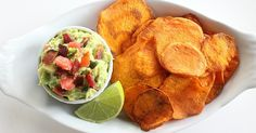 Sweet potatoes and avocado might not seem like a natural fit at first glance, but let me assure you: it doesn't get much better than this Paleo-friendly appetizer. Thinly sliced sweet potatoes are baked into the perfect thin crisp, then taken for a dip