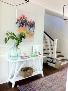 stairs with wood treads and white risers