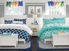 I love the PBteen Beadboard Crinkle Puff Bedroom on pbteen.com
