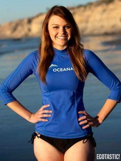 Aimee Teegarden in Swim Wear Shooting a PSA for Oceana