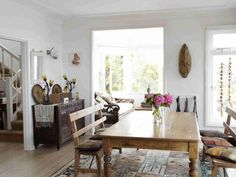 Still feasting ... more of Jo's favourite dining rooms 2014. pine farms table. bench for seating. open plan