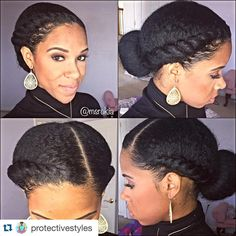 Looking for a way to wear your hair but without needing to rely on cornrows? You need to check out these gorgeous flat twist hairstyles! Pelo Natural, Natural Hair Tips, Natural Hair Styles, Simple Natural Hairstyles, Professional Natural Hairstyles, Going Natural, 4c Hair, Hair Dos, Protective Hairstyles