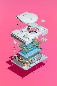 rendering of all console parts on a poster. This poster is great for anyone who loves the or vintage video game consoles. Vaporwave Art, 25th Birthday, Video Game Art, Soft Colors, Framed Art Prints, Pokemon, Geek Stuff, Retro Games, Deconstruction
