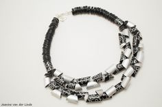 Necklace with polymer clay and aluminium tube beads