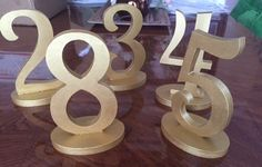 """Rental: 3"""" Gold Wooden Table Numbers (1-20)"""